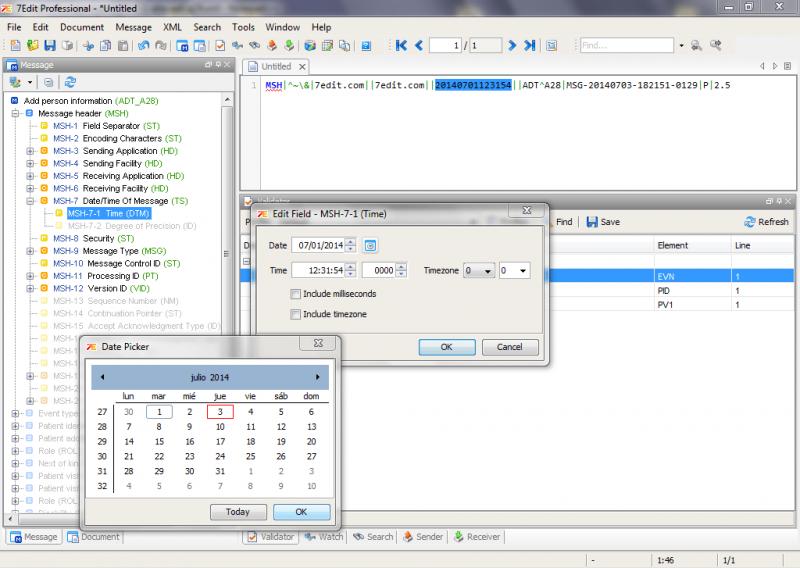 Edición de campos de un mensaje HL7 utilizando 7Edit