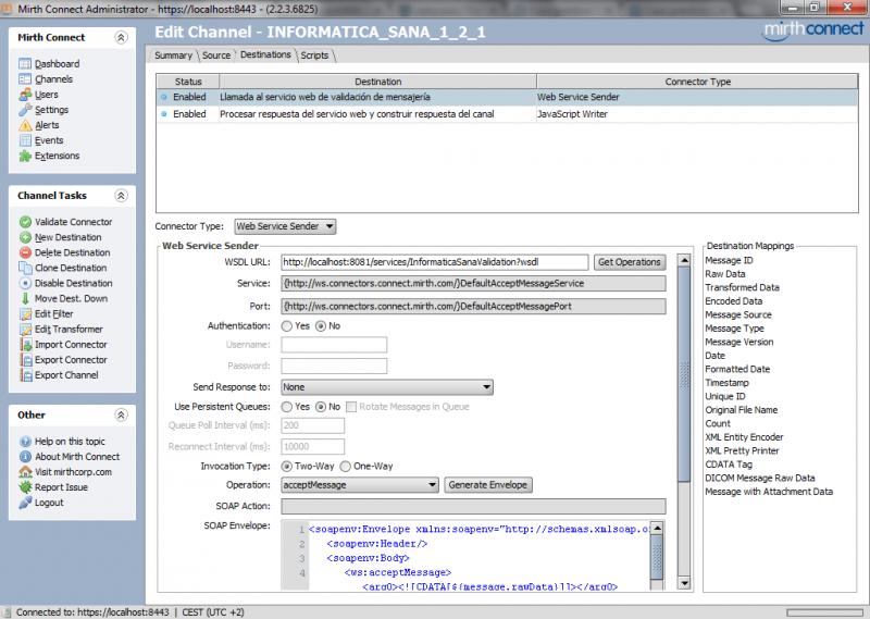 Mirth Connect: conector destino para enviar el mensaje HL7 al servicio web de validación