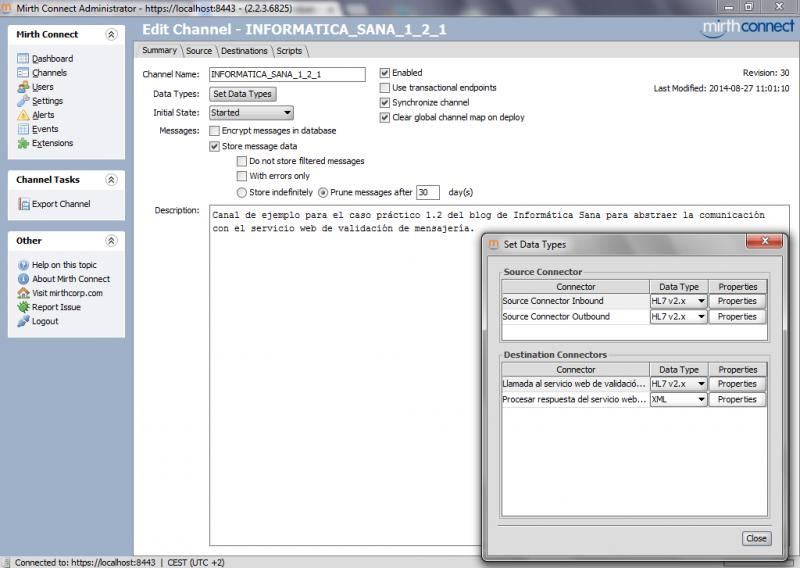 Mirth Connect: configuración del canal para comunicarse con el servicio de validación de mensajes HL7
