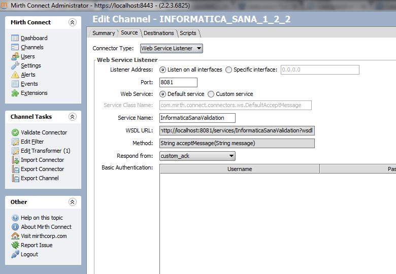 Mirth Connect: configuración del conector fuente para el servicio web de validación de mensajería HL7