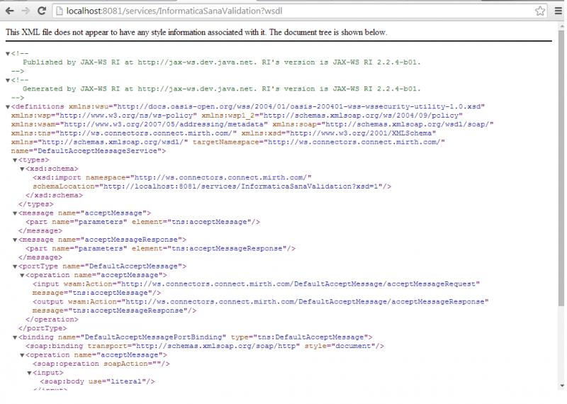 WSDL: definición del servicio web para validación de mensajería HL7