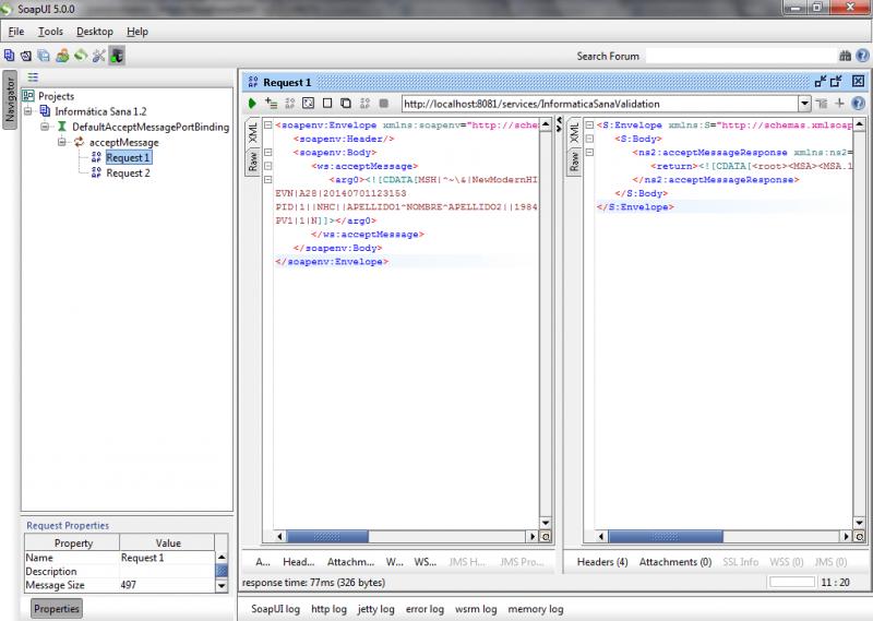 SoapUI: proyecto para probar la validación de mensajería HL7