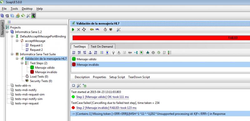 SoapUI: resultado de ejecución del TestCase