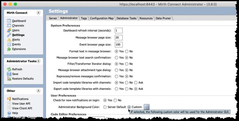NextGen Mirth Connect 3.8.0 Personalización del fondo del administrador