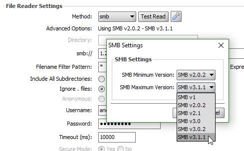 Versiones de SMB soportadas a partir de Connect 3.9